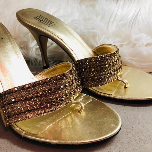 Shoes - Gold Crystal Rhinestone High Heels